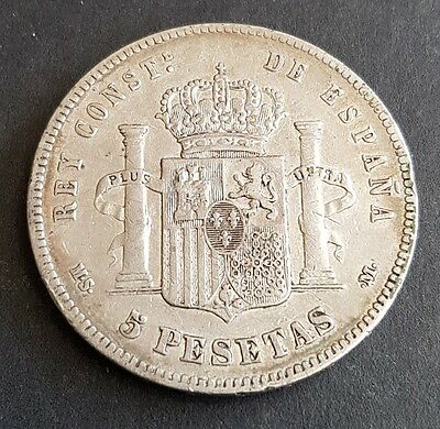 Spain Alfonso XII 5 Pesetas 1885 Madrid Mint