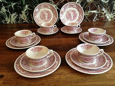 MYOTT England OLD ENGLAND 18 teiliges Kaffeeservice in rot- 6 Personen