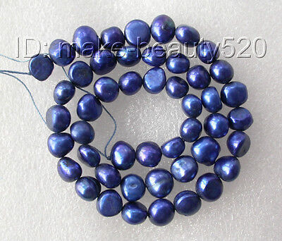 wholesale 5pcs 9mm blue baroque freshwater pearl necklace loose beads s178