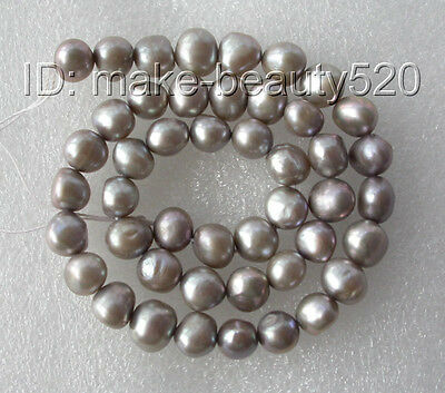 wholesale 5pcs 9mm gray baroque freshwater pearl necklace loose beads s177