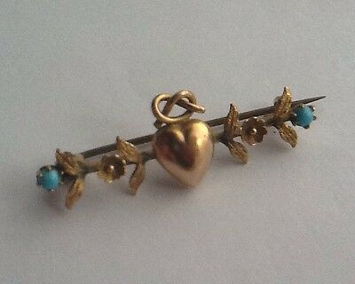 Antique Victorian Gold Plated Love Heart Sweetheart Brooch With Turquoise Stones