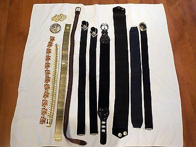 LOT OF 10 RETRO WOMENS BELTS,ELASTIC,METAL,BUCKLES,LARGE,1980s,LEATHER,BUTTERFLY