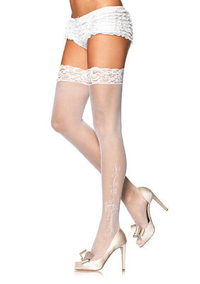 Leg Avenue Sheer Thigh Hi Stockings With Lace Top - White 9021