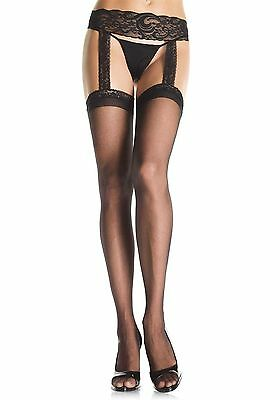 Leg Avenue Fishnet Stockings With Attached Lace Garterbelt - Plus Size - 1656Q