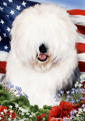 Large Indoor/Outdoor Patriotic I Flag - Old English Sheepdog 16129