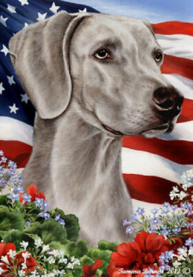 Large Indoor/Outdoor Patriotic I Flag - Weimaraner 16057