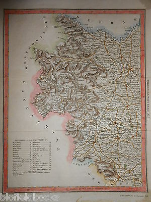 Hand Coloured Map of West Yorkshire - c1840 - inc Leeds, Wakefield, Wetherby etc