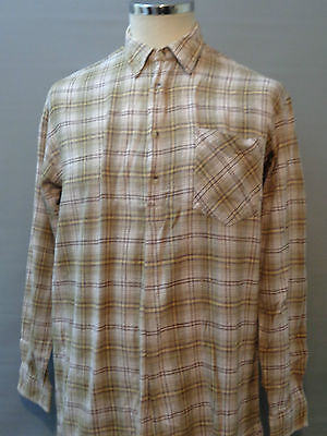 Vtg French checked cotton overhead smock hunting 40s lk WW2 lk work chore shirt