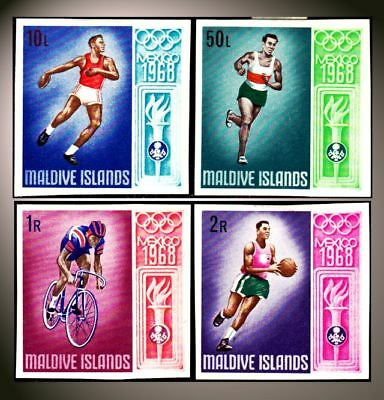 1968 Maldive Island  Mexico Olympic Discus Basketball Cycling Runner St. 288-91