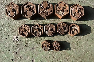 ANTIQUE FRENCH CAST IRON WEIGHTS  c1880