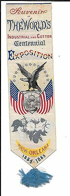 rare PATERSON NJ SILK BOOKMARK  by PHOENIX  NEW ORLEANS 1884 EXPOSITION US FLAG
