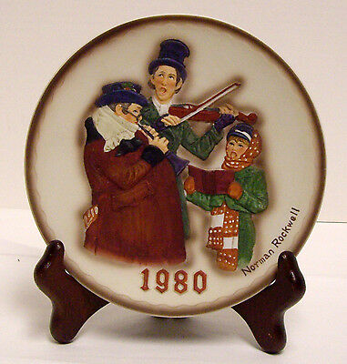 Norman Rockwell Christmas Plate Christmas Trio First Ltd Ed D Grossman 1980 3D
