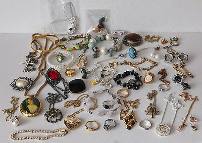Over 50 Pieces of Costume Jewellery in Wooden Chest