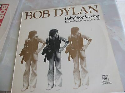"""BABY STOP CRYING & IS YOUR LOVE IN VAIN? - BOB DYLAN - 12"""" VINYL SINGLES x 2."""