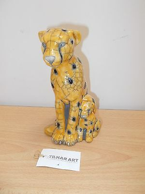 RAKU MOTHER CHEETAH AND CUB SITTING - Hand Crafted South African Ceramic Figure