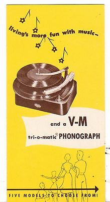 Undated Advertising Brochure VM Tri O Matic Phonograph Five Models to choose