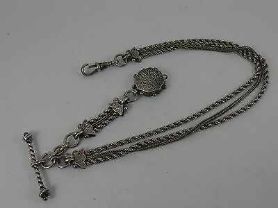 Antique Silver Albertina  And Fob  Albert Watch Chain