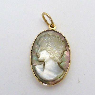 Victorian Gold Abalone Shell Cameo Pendant