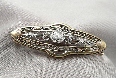 Vintage 14K Yellow White GOLD Filigree .25ct DIAMOND PEARL Pin Brooch Art Deco