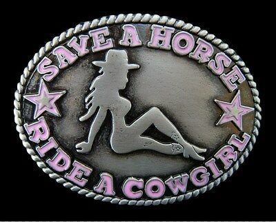 Save A Horse Ride Cowgirl Pink Western Quality Belt Buckle Boucle De Ceinture