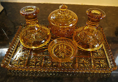 Sowerby Amber Glass 5 Piece Vanity Trinket Set Pattern No: 2501 c1940's