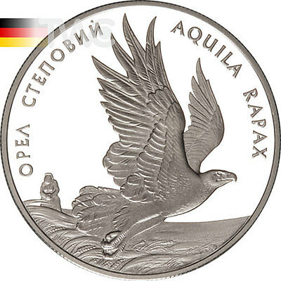 Ukraine 1999 10 Hryvnia's Steppe Eagle - Aquila Rapax Proof Silver Coin
