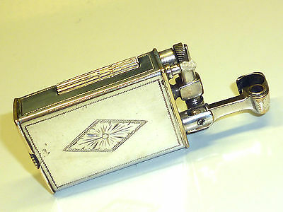 Vintage Silver Plated Liftarm Wick Pocket Lighter W. Engraving - Feuerzeug -Nice