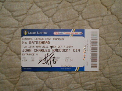 Leeds Utd Res V Gateshead Res Central League Match Ticket Signed By S. Watt 2011