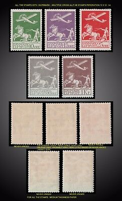 1925 -1929 Denmark First Issue Air Mail Airplane And Plowman Sct.  C1-C5 Nh ,vlh
