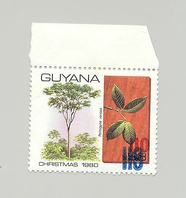Guyana #431 SG#875 Trees 1v Red Surcharge & Double Blue Surcharge Error