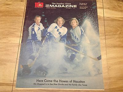 1973 THE HOWES OF HOUSTON Detroit Sunday News hockey cover NHL Gordie Howe