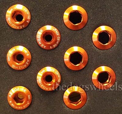 Aerozine Anodized Alloy Chainring Bolts M8 x 5 MTB Bicycle Bike Orange Outer