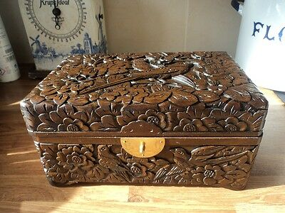 Old Chinese carved box featuring birds and flowers - beautiful!