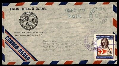 November 1958 Guatemala airmail cover commercial to Fall River MA