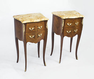 Antique Pair French Marquetry Tulipwood Bedside Cabinets c1900