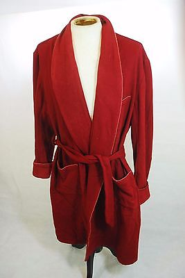Vintage Cravats of London Harrods Dressing Gown Robe Burgundy Wool XXL