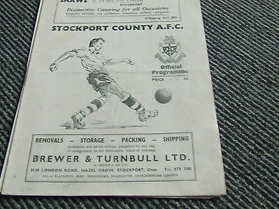 Stockport County V Tranmere Rovers 1953-4