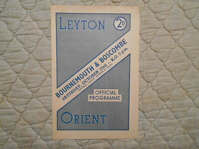 Leyton Orient V Bournemouth Third Division South Match Programme October 1948