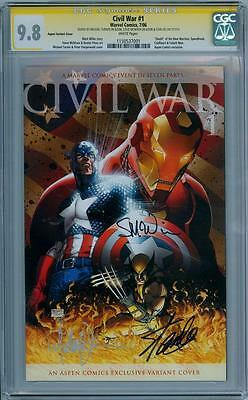 CIVIL WAR #1 ASPEN CGC 9.8 SIGNATURE SERIES SIGNED x3 STAN LEE TURNER MOVIE