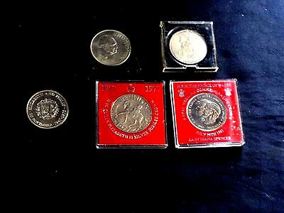 Small Collection of G.B. Queen Elizabeth 11 CROWN Coins 1953-1981 Some in  Cases