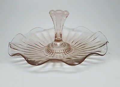 Pink Vintage Glass Candy Dish With Handle
