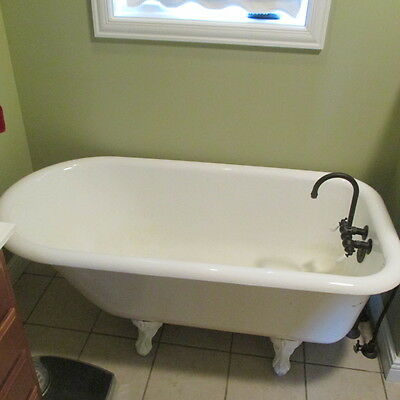 Vintage REAL Cast Iron Claw Foot Tub 60""