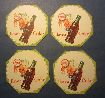 Lot of 4 Old Vintage HAVE A COKE - Sprite Boy - DRINK COASTERS - Light Green
