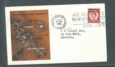 GB 1961 STAMPEX souvenir cover with Morocco Agencies wilding pmk 1962