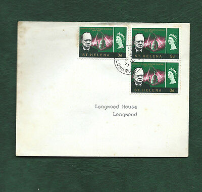 St Helena 3d Churchill memorial stamps on 1971 cover Longwood cds