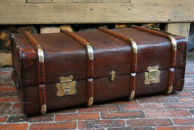 Superb Antique English Brass Bound Cabin Trunk