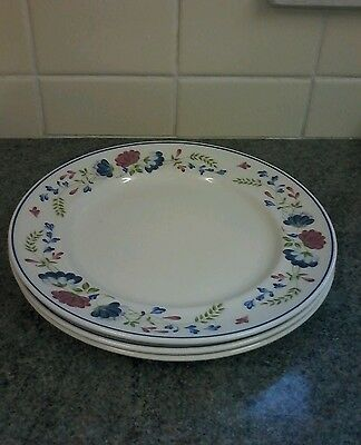 Bhs Priory 10.25Ins Dinner Plates X 3 Excellent
