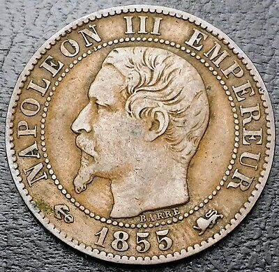 1855D France 5 Centimes KM# 777.4 - Great Condition