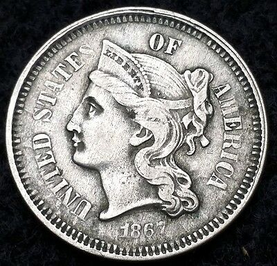 1867 Libery Head Three Cent Nickel, 3 Cents - Great Details - Free Combined S/H