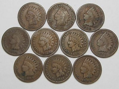 10 US Indian Head Penny Cents.  All 1880's.   #1